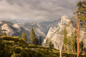 Early Evening Light Breaking Through Rain Clouds Over Yosemite Valley. Glacier Point, Yosemite National Park, MAY 2015