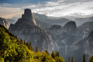 Morning Light Awakening Half Dome and Little Yosemite Valley, the Valley of the Merced River, Panorama Trail near Glacier Point, Yosemite National Park, CA MAY 2015