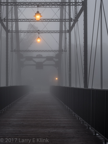 Image of Walker Bridge / Donald W Alden Memorial Bridge, FOlsom, CA in Fog