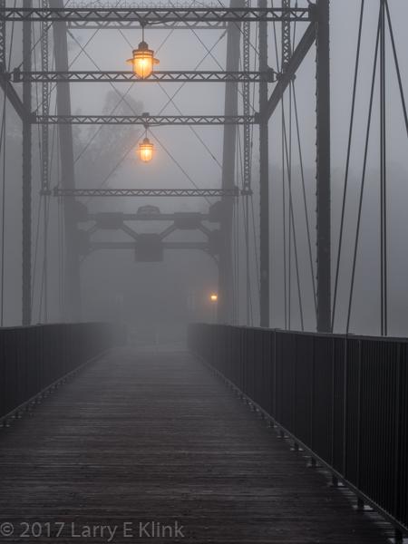 Image of Walker Bridge / Donald W Alden Memorial Bridge, FOlsom, CA in Fog