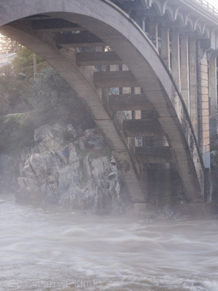 Image of Rainbow Bridge arch after heavy rains, Folsom, CA. JAN 2017