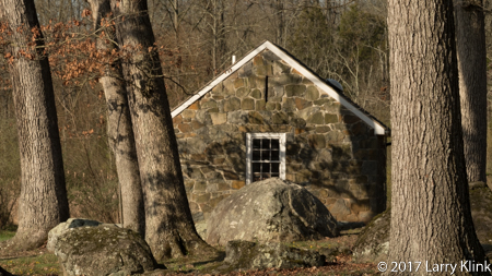 Image of a stone building near Spangler's Spring, Gettysburg National Military Park, PA APR 2017
