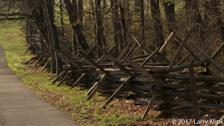 Image of a rail fence near the Lee Memorial, Gettysburg National Memorial Battlefield.