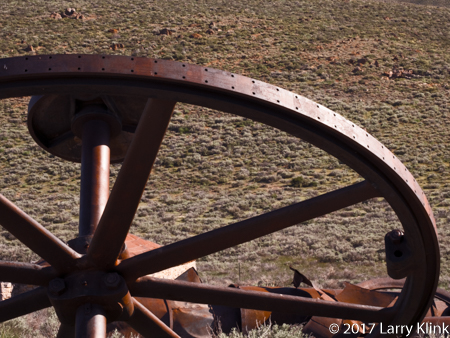 Image of Old Mining Equipment: Drive Wheel and Axle, Bodie, CA JUN 2017