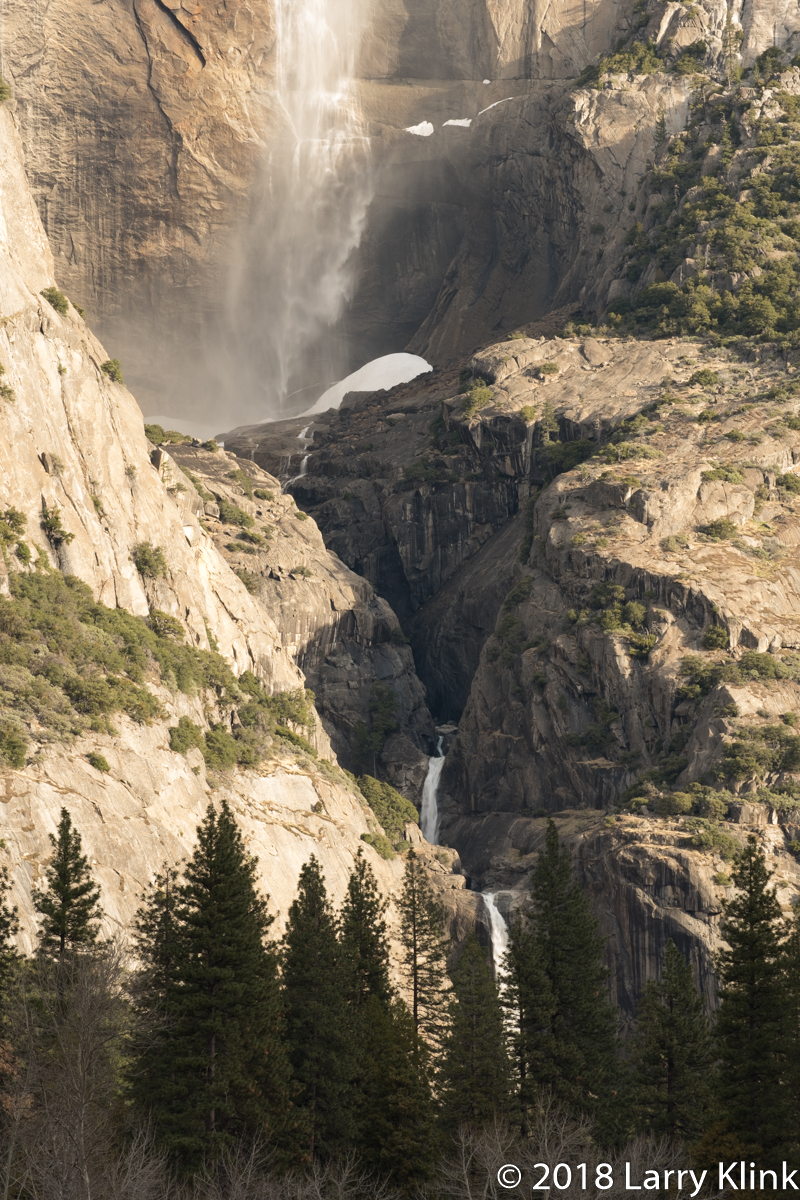 Middle Section of Yosemite Falls from Swinging Bridge meadow