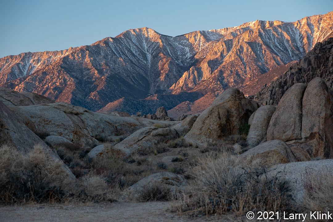 Early morning image of the Sierra Nevada mountains from the Alabama Hills