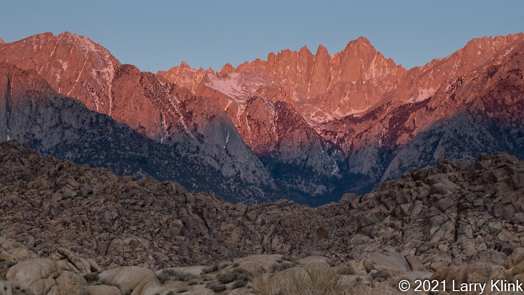 Image of Mt Whitney at sunrise from the Alabama Hills