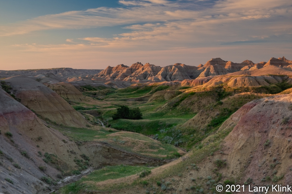 Colorful river valley at sunrise.