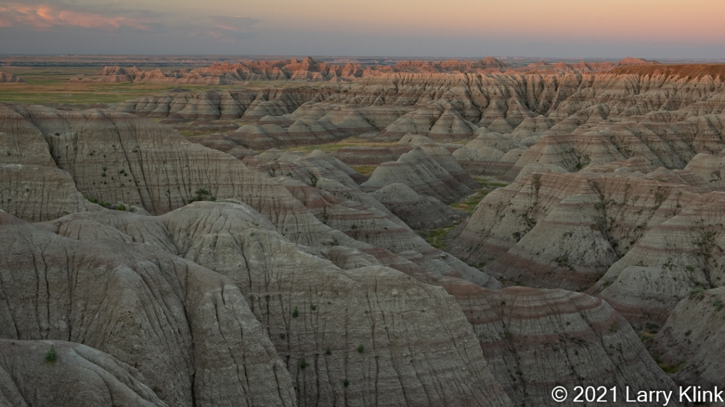 Eroded valley at sunrise.