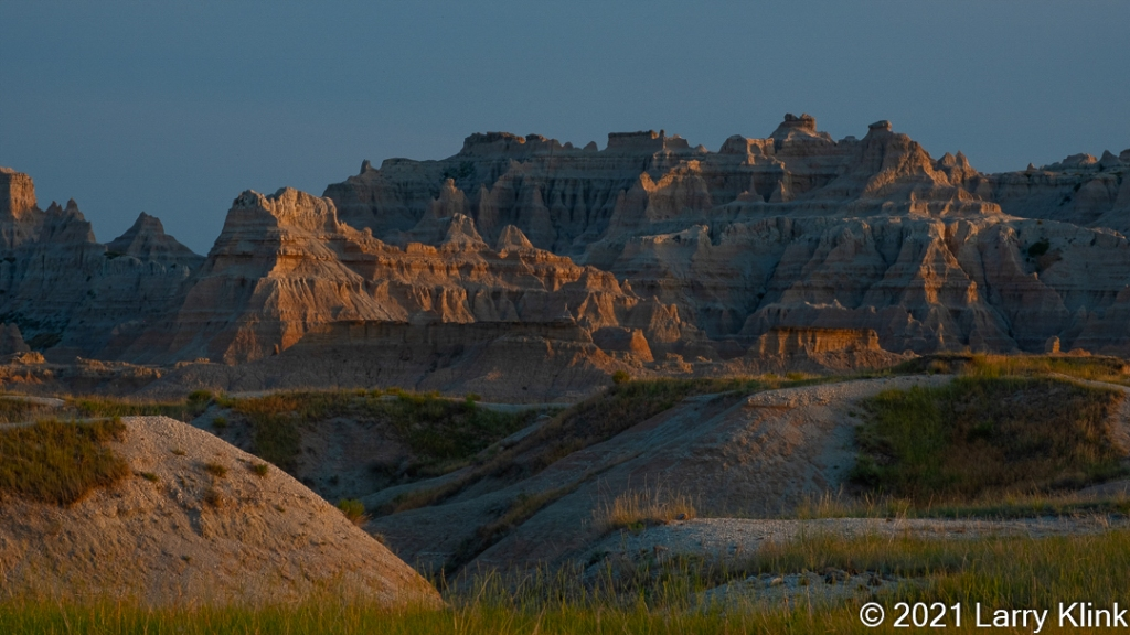 Eroded mountains at sunset.
